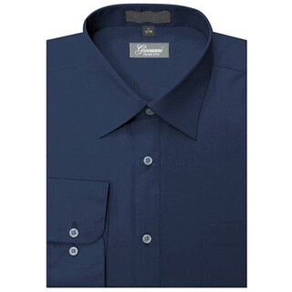 Giovanni Men's Navy Blue Cotton and Polyester Convertible-cuff Long-sleeve Dress Shirt