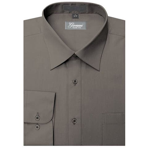 Giovanni Men's Charcoal Convertible Cuff Dress Shirt