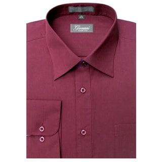 Giovanni Men's Burgundy Convertible Cuff Dress Shirt