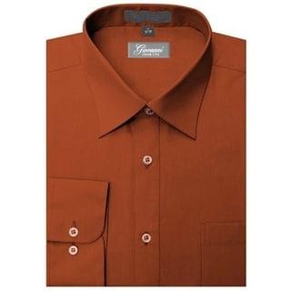 Giovanni Men's Rust Convertible Cuff Dress Shirt