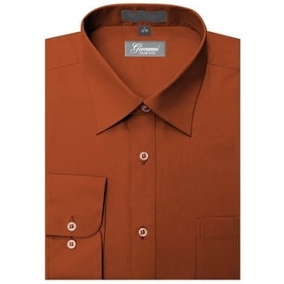 Giovanni Men's Rust Convertible Cuff Dress Shirt