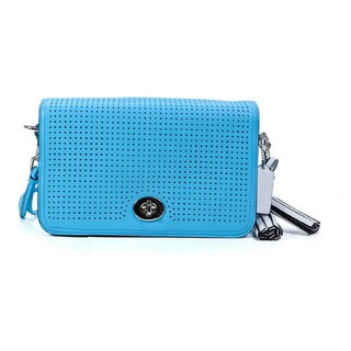Coach Legacy Blue Perforated Leather Penelope Shoulder Purse