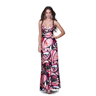 Women's Black and Pink Abstract Printed Long Gown