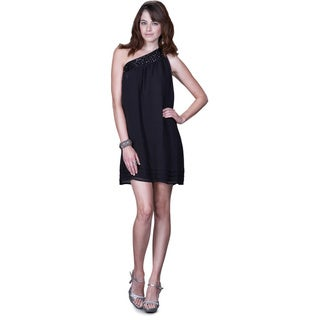 Women's Black Satin One-shoulder Cocktail Dress