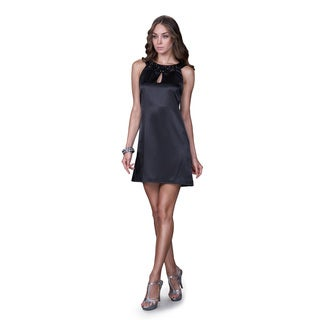 Women's Black Satin Jewel Neckline Cocktail Dress