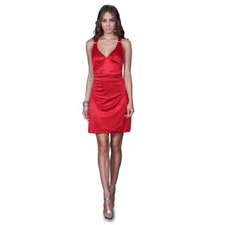 Women's Ruched Satin Cocktail Dress