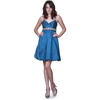 Women's Blue Sleeveless Bubble Hem Cocktail Dress