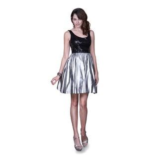 Women's Black and Silver Metallic Bubble Hem Dress