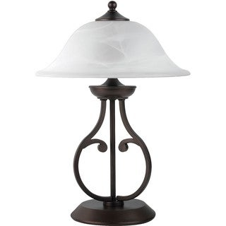 Classic Harp Design Table Lamp with Glass Shade