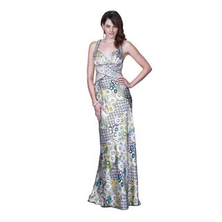 Women's Abstract Printed Cut-out Gown