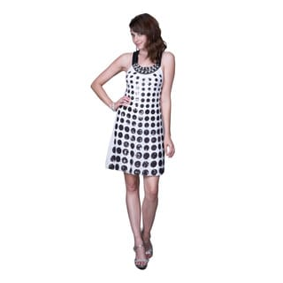 Women's Black and White Polka-dot Satin Shift Dress