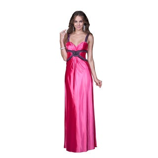 Women's Pink Open Back Satin Gown