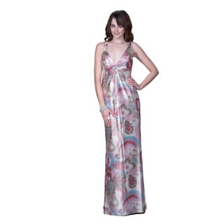 Women's Pink Metallic Printed Gown