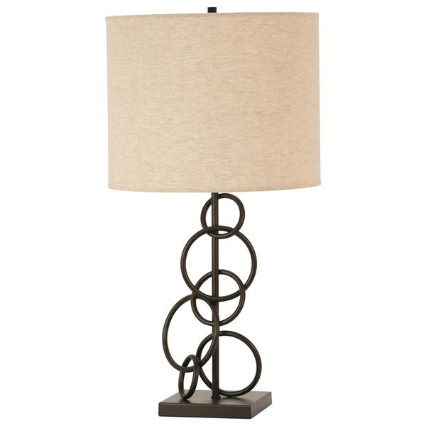 Open Geometric Design Table Lamp with Round Shade
