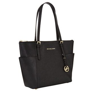 Michael Kors Jet Set Medium Black Pocketed Top Zip Tote Bag