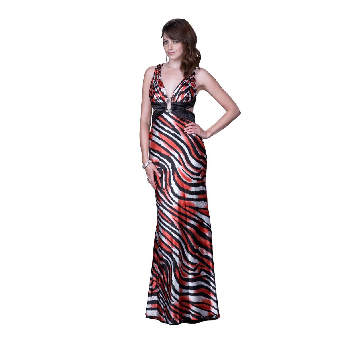 La Femme Women's Zebra Printed Satin Halter Gown with Bro...