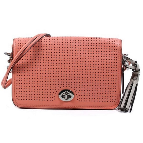Shop Coach Legacy Perforated Leather Penelope Coral Shoulder Bag ... b2cb181303a99