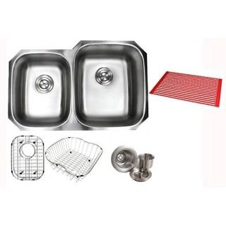 Ariel Pearl Satin 32-inch Premium 16 Gauge Stainless Steel Undermount 40/60 Double Bowl Kitchen Sink