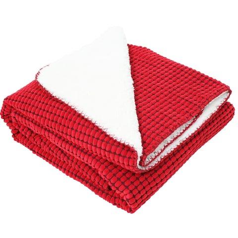 J & M Home Fashions Corduroy Sherpa Red Fleece Throw