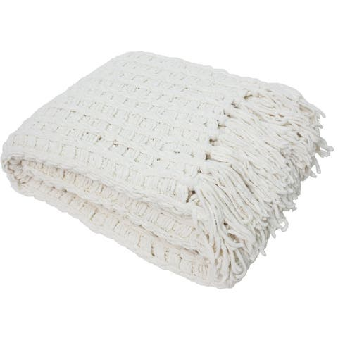 J & M Home Fashions Luxury Chenille Throw with Tassels