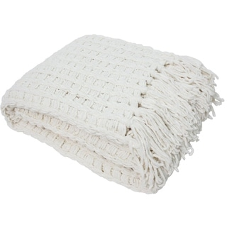 J & M Home Fashions Luxury Chenille Throw with Tassels, Cream