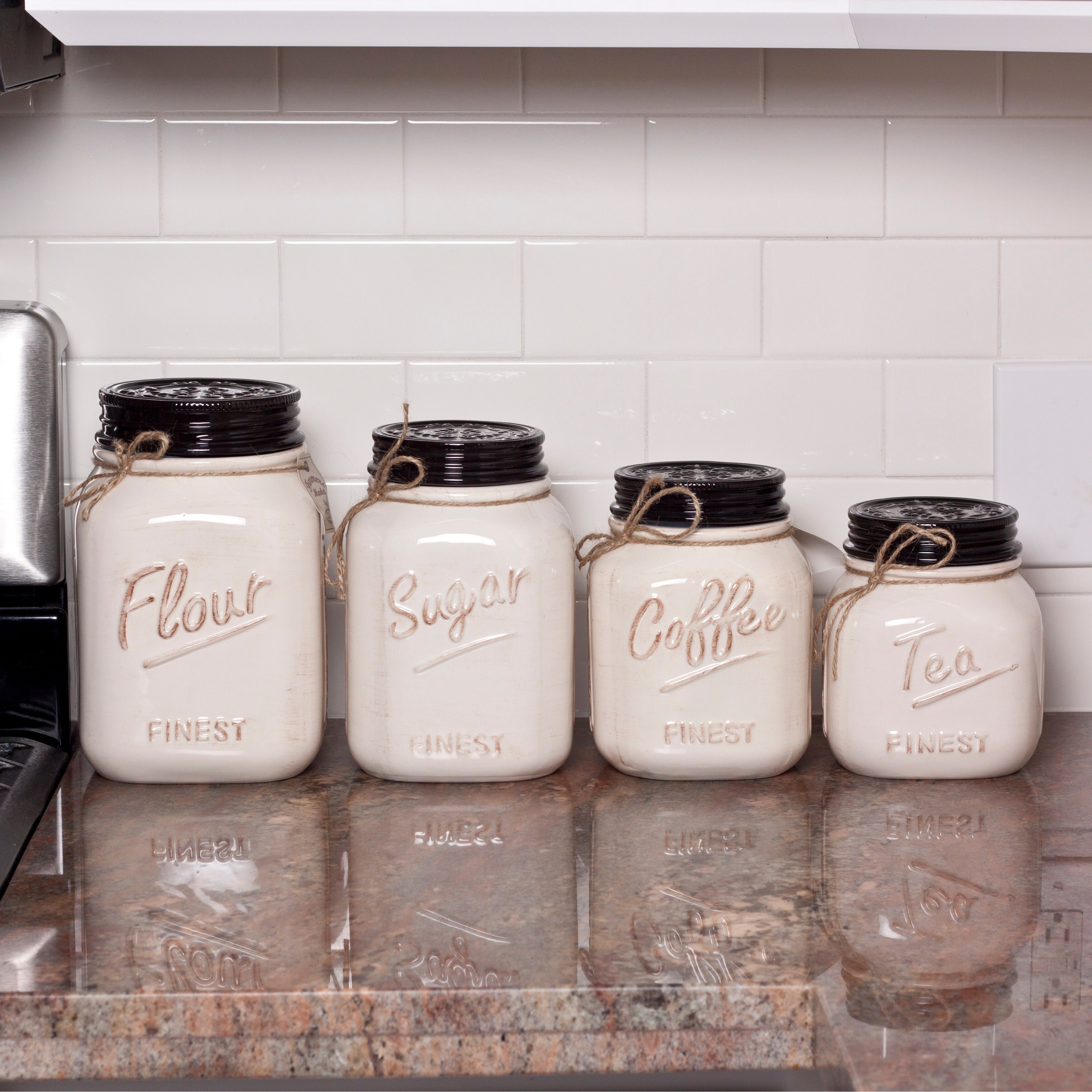 canisters set of 4 wide mouth mason jars ceramic off white canister set for