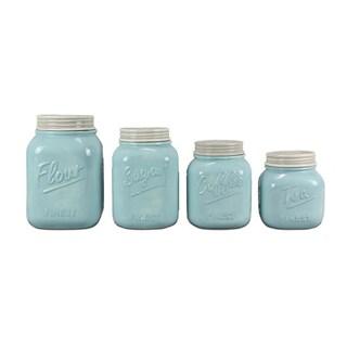 Ceramic Mason Jar Canister Set (Set of 4) (Option: White/Blue)