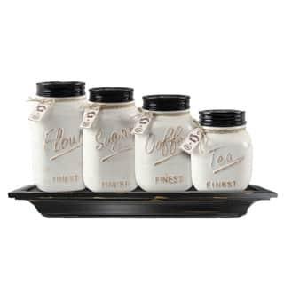Ceramic Farmhouse Mason Jar Canister Set (Set of 4)