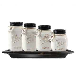 ceramic mason jar canister set set of 4