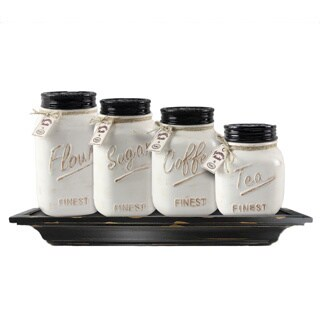 Ceramic Farmhouse Mason Jar Canister Set (Set of 4)