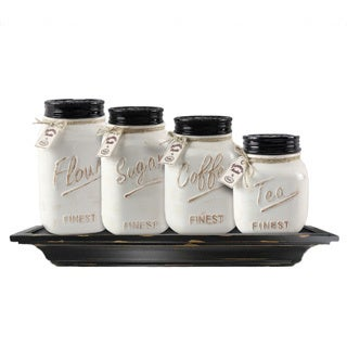 Ceramic Mason Jar Canister Set (Set of 4)