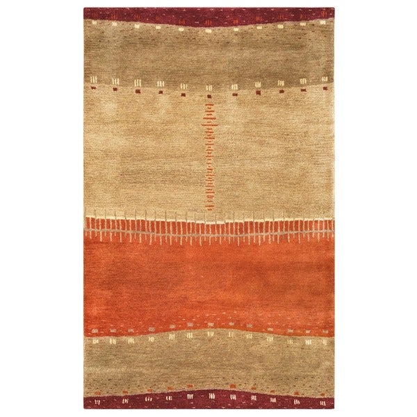 Rizzy Home Mojave Collection Hand-tufted Wool Beige Area Rug - 8' x 10'