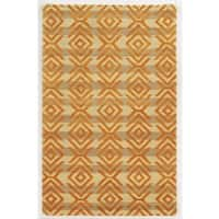 Rizzy Home Gillespie Avenue Beige and Orange Hand-tufted Wool and Viscose Accent Rug - 5' x 8'