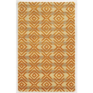Rizzy Home Gillespie Avenue Beige and Orange Hand-tufted Wool and Viscose Accent Rug (3' x 5')