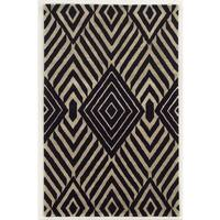 Rizzy Home Gillespie Avenue Black and Beige Hand-tufted Wool and Viscose Accent Rug - 5' x 8'