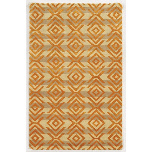 Rizzy Home Gillespie Avenue Beige/Orange Hand-tufted Wool and Viscose Accent Rug (9' x 12') - 9' x 12'
