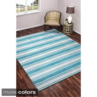 Rizzy Home Striped Pattern Hand-tufted 100-percent Wool Accent Rug (8' x 10')