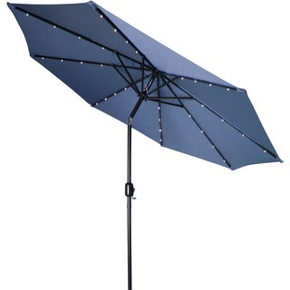 Trademark Innovations Deluxe 9-foot Blue Solar Powered LED Lighted Patio Umbrella