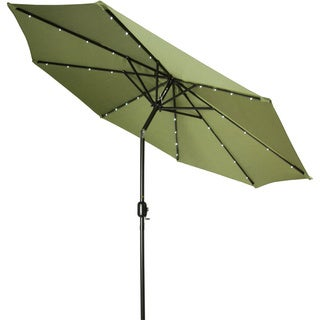 9-foot Deluxe Solar Powered LED Lighted Patio Umbrella by Trademark Innovations (Light Green)