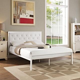 Modway Min White Vinyl Platform Bed Frame with 10-inch Queen-size Memory Foam Mattress