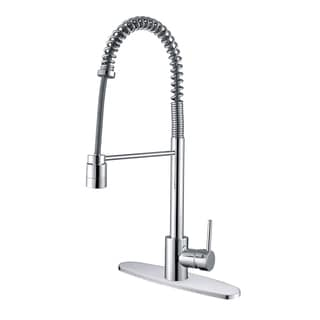 Ruvati RVF1210B1CH Commercial Style Polished Chrome Pullout Spray Kitchen Faucet with Deck Plate