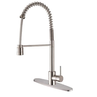 Ruvati RVF1210B1ST Commercial Style Polished Chrome Pullout Spray Kitchen Faucet with Deck Plate