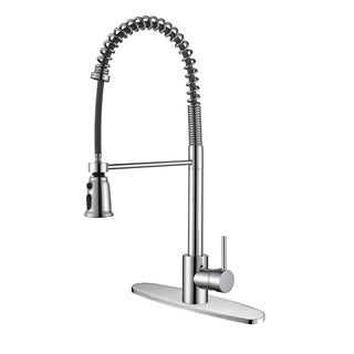 Ruvati RVF1215B1CH Commercial Style Polished Chrome Pullout Spray Kitchen Faucet with Deck Plate
