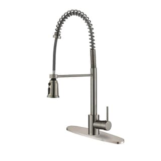 Ruvati RVF1215B1ST Commercial Style Stainless Steel Pullout Spray Kitchen Faucet with Deck Plate