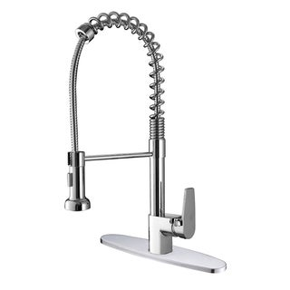 Ruvati RVF1216B1CH Commercial Style Polished Chrome Pullout Spray Kitchen Faucet with Deck Plate