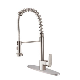 Ruvati RVF1216B1ST Commercial Style Stainless Steel Pullout Spray Kitchen Faucet with Deck Plate