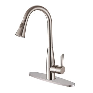 Ruvati RVF1228B1ST Pullout Spray Stainless Steel Kitchen Faucet with Deck Plate