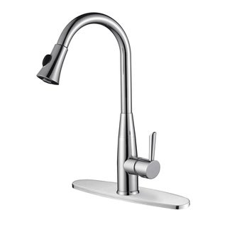 Ruvati RVF1228B1CH Pullout Spray Polished Chrome Kitchen Faucet with Deck Plate