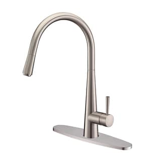 Ruvati RVF1221B1BN Pull-Down Stainless Steel Kitchen Faucet with Deck Plate