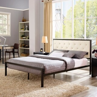 Min Cream Fabric Platform Bed Frame with 10-inch Queen-size Memory Foam Mattress